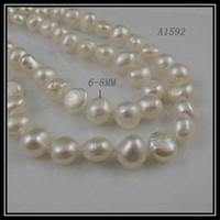 Wholesale AA mm rows white color fresh water pearl necklace inch inch A1592