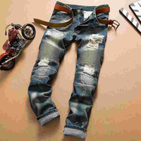 america motorcycle - Europe America tide hole Pleated Motorcycle BALMAIN BIKER JEANS Homme Slim Straight jeans Brand ripped jeans men casual demin trousers