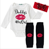 baby onesies set - NWT New cute Baby Girls Outfits piece Set Cotton Long Sleeve Romper Onesies Lips leggings socks Sequins bow Headband Daddy s WCW
