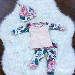Wholesale INS baby girl Summer piece set outfits Rose Shirts Tops Floral pants legging Hats Caps Clothing Clothes Cute