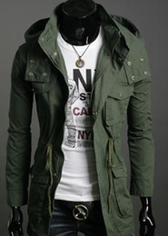 Wholesale 2011 Fall New Men s Military Coat Winter Warm Long Coat Windbreaker Clothes Hooded Windbreaker