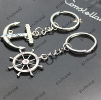 anchor keychain - 100pcs V65 Rudder And Anchors Key Chain Lovebirds Charm Key Ring Keychain Lover Couple