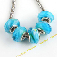 Wholesale 50x Hot Bulk Sky Blue Faceted Crystal Charms Beads Glass Lampwork Bead Fit Bracelet mm