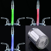 Wholesale Two Type Colors LED Water Shower Head Light Glow LED Faucet With Adapter For Most Faucet Kitchen Bathroom Tap H4706 H8523 C7
