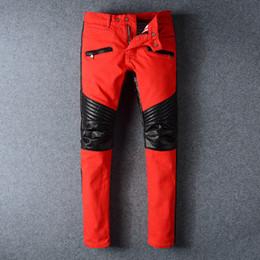 Wholesale Korean Pants For Mens - New brand mens balmain jeans leisure retro knee wrinkled PU leather balmain jeans for men high quality red balmain bike jeans Korean version