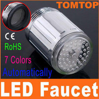 Wholesale 3 OR Colors LED Water Shower Head Light Glow LED Faucet With Adapter For Most Faucet Kitchen Bathroom Tap H4706 H8523 C7