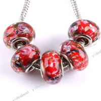 Wholesale 40 Red Glazed Glass Lampwork Charms Beads Handcraft Murano European Bead Fit Bracelet mm
