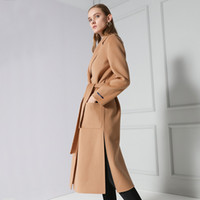 Wholesale Double sided cashedmere coat femaleLong wool coat manual high end custom cultivate one s morality doubled sided cashmere coat female Package