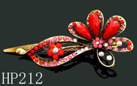 Wholesale Hot Sale vintage hair jewelry zinc alloy rhinestone butterfly hair clip Hair Accessories Mixed colors HP212