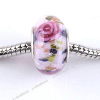 Wholesale 40 New Glazed Glass Lampwork Charms Beads Handcraft Flower Murano European Bead Fit Bracelet