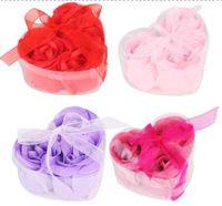 Wholesale soap flower heart shape hardmade rose petals rose flower paper soap mix color box