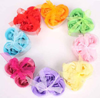 Wholesale soap flower heart shape hardmade rose petals flower paper soap mix color box choose color