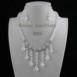 beautiful white crystal necklace earring wedding necklace jewelry set hot sale free shipping A933