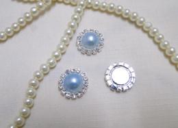 50pcs HOT Item Blue Pearl Flatback Wedding Favour Box Decor Scrapbook A-Grade Rhinestone Cluster DIY