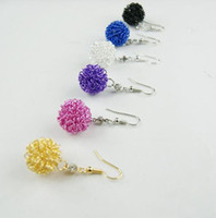 Wholesale 50 pairs New Arrival Hot Fashion Copper Colourful Round Ball Bird s Nest Earring Earrings mm