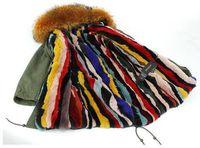 Wholesale DHL Mrs furs Long coats Hooded raccoon fur collar detachable rex rabbit fur liner