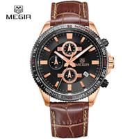 auto stop blue - Megir Fashion Leather Stop Watch Man Casual Luminous Brand Quartz Watches Men s Wrist Watch Chronograph Hour For Male