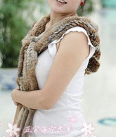 Wholesale Warm One Size Gold Handmade Knit Rabbit Fur Hat Cap Scarf Hood Covering Ear Tassel Fringe