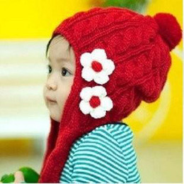 Wholesale Hot Pieces Baby Girl Crochet Earflap Hats Knitting Bird Cap Winter Flower Crochet Hats Fall