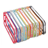Wholesale case for iphone S Metal button Frame bumper transparent TPU cover case