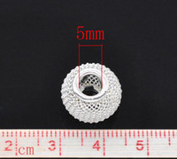 Wholesale DIY New European Beads mm Metal Spacer Beads Round Mesh Silver Plated Jewelry Findings