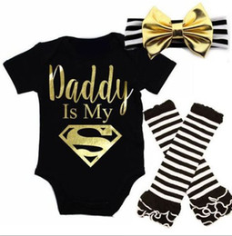 INS 2017 Baby girl kids toddler Summer 3piece outfits Romper Onesies Diaper Covers + Bow Headband + Ruffles Leg warmer Daddy is My Superman