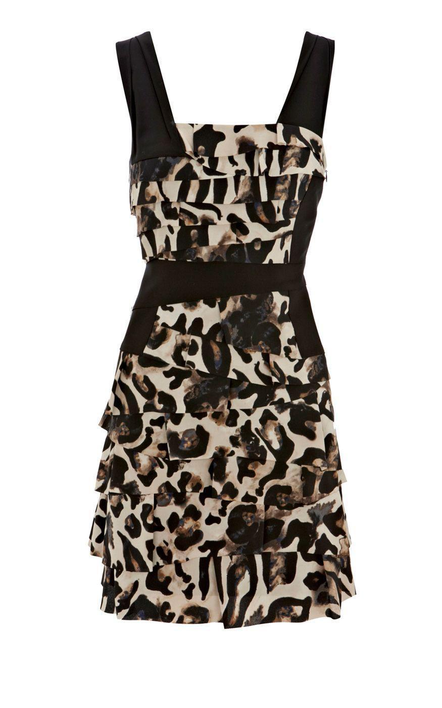 BCBGMAXAZRIA SHEENA LONG-SLEEVE LEOPARD-PRINT DRESS