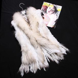 Wholesale 2014 New Thick woven Fully White Short Knitted Rabbit Fur Vest Gilet Sleeveless Cape Raccoon Collar S M L XL