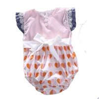 Wholesale 2017 new styles Hot sell infant girl Summer pink and white stripe Peach heart mosaic clothes High quality cotton romper