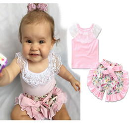 INS 2017 NWT Baby girl Toddler Summer 2piece set Outfits Lace Tops Vest Shirt Tanks + Rose Floral Shorts Pants Bloomers Bow Belt PINK Cute