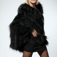 Wholesale Hot Black Women Knitted Rabbit Fur Shawl Cape Vest Gilet Wrap Outwear Raccoon S M L XL