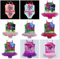 Wholesale Baby Girls Trolls Swimwear Cartoon trolls Kids One Piece Swimsuit Trolls Children Bathing Suit Kids Girls Bikini Swim suits T
