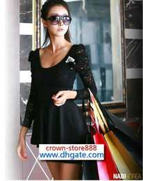 Wholesale New dresses women dress long sleeve dresses mini dress Elegnat Lace Black Dress