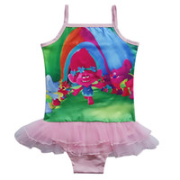 Wholesale Trolls cute baby g Kids COSPLAY with Princess Bobby Y girls swimsuit kid children swimming Suit Bathing Toddler Bow Swimsuit