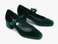 Sangle cheville mary jane talons chaussures de mariage 2017 vert / brun pompes velours vintage pour les femmes de mariage soirée prom de soirée
