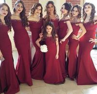al por mayor vestidos de dama de honor de raso de color rojo oscuro-Vestidos de dama de honor de la sirena de color rojo oscuro 2017 fuera del hombro rebordeado de la criada del satén del vestido del honor para las bodas