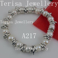 Wedding aa jewelry rings - special design jewelry AA MM silver ring amp white fresh water pearl elastic bracelet A217
