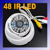 12v surveillance camera - 48 LED Color CCTV IR CMOS Dome Surveillance TV Lines Audio Infrared Camera NTSC DC V White Adeal