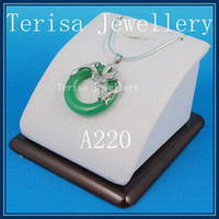 Women's jade necklace - special design jewelry AA MMX30MM green jade pendant amp dragon free inch silver necklace A220