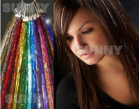 Wholesale 24 quot Glitz Sparkling Dazzle Tinsel Hair Extensions D Shinny Hair Extension strands THE005