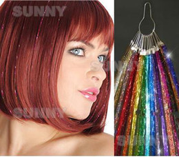 Wholesale 24 quot Glitz Sparkling Feather Tinsel Hair Extensions D Shinny Hair Extension strands THE004