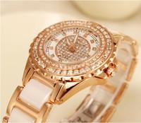 Precio de Gifts-Señora del taladro del taladro que vende relojes de lujo de la manera del reloj Tabla de cerámica del oro de Rose Oferta especial paquete correo cumpleaños partido regalo tabla