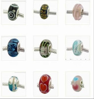 Wholesale 300pcs mixed Rondelle New Silver Plated Thread Murano Glass beads Fit for Charms Bracelets