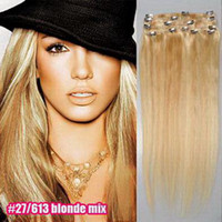 Wholesale 18inch sets Mixed Colors g set Clip in on Hair Extensions Remy Human Hair Extension