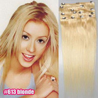 Wholesale 16inch sets Mixed Colors set g set Clip in on Hair Extensions Remy Human Hair Extension