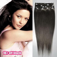 Wholesale 28 quot Sets Mixed Colors g set Clip in on Hair Extensions Remy Human Hair Extension
