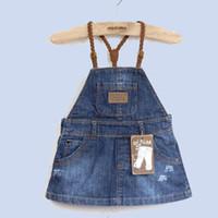 achat en gros de za bébé-1-5Y za bébé denim robe, denim pinafore robe avec bretelles suspender robe enfants vêtements robe fille disfraces