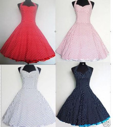 Wholesale 2016 New Vintage Polka Dots Swing Jive Rockabilly Dresses Halter Ball Gown Knee Length Plus Size Special Occasion Dresses