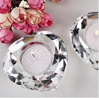 Wholesale 10pcs wedding favor Crystal Diamond Shaped Tea Light candle Holder clear