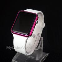 5pcs / lot, 2017 LED relojes Rojo plateado marco cuadrado espejo cara blanco silicona banda digital reloj rojo LED reloj reloj reloj deportivo horas